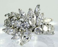Estate 1950's Platinum 4.05 ct Round Marquise Floral Diamond Cluster Eternity Band Ring