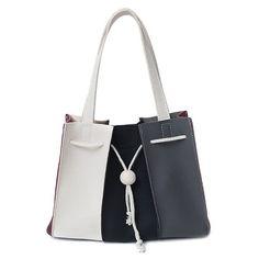 Drawstring Color Block Shoulder Bag