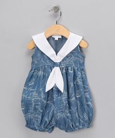 Take a look at this Blue Denim Sailor Bubble Romper - Infant  by Fantaisie Kids on #zulily today!
