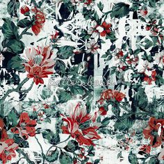 Tribal Flowers / Seamless #floral #pattern, #flowers #interior #fashion #moda #repeat #patchwork #green #red