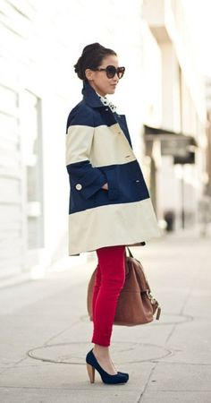 Stripe jacket and red pants!