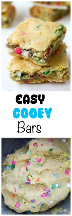 Easter Ooey Gooey Bars: Decadent ooey gooey bars with white chocolate chips in every bite. Easy peasy with only 7 ingredients and one bowl required.
