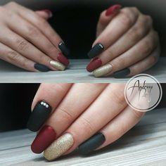 Matte black red nails