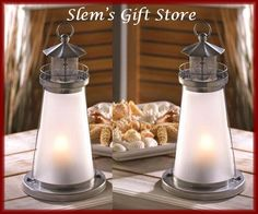 TWO Lighthouse Candle Lamps candleholders nautical beach ocean garden wedding $25.95 free s http://stores.ebay.com/Slems-Gift-Store  or order directly from me at dslem3@yahoo.com for 10% off your order!