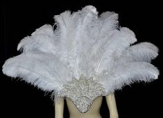 White Feather Copacabana Backpiece with Crystal Piece