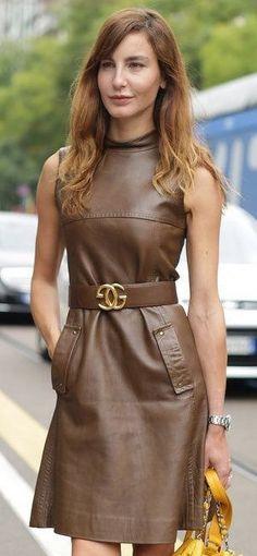 Brown nappa leather dress