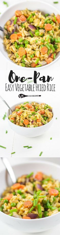 One-Pan Vegetable Fried Rice made easy – basic ingredients you already have come together to make this simple staple dish right now. Try our take of Vegetable Fried Rice for a quick and easy dinner under 30 minutes. (Healthy, Gluten Free, Dairy Free, Peanut Free, Sesame Free)