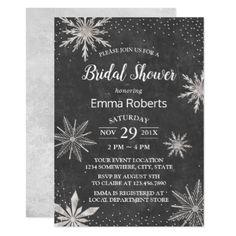 Snowflakes Chalkboard Winter Bridal Shower Card - bridal shower gifts ideas wedding bride