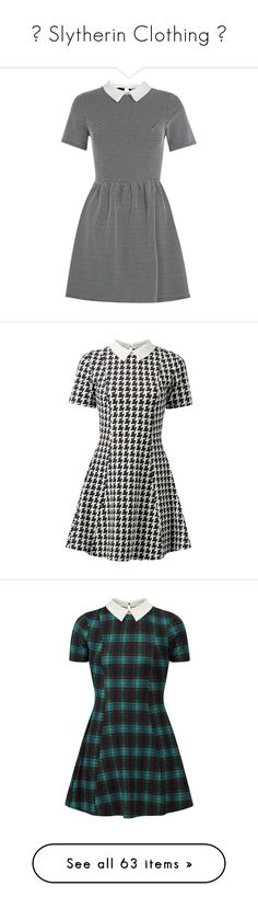 """💚 Slytherin Clothing 💚"" by moon-crystal-wolf ❤ liked on Polyvore featuring dresses, print dress, cap sleeve dresses, checker print dress, check print dress, parisian dresses, vestidos, cameo dress, short sleeve dress and short-sleeve dresses"
