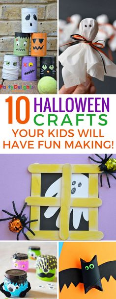 These easy Halloween crafts for kids a super fun! Make monsters, bats, ghosts and more! 10 fun fall crafts for kids!
