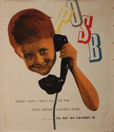 Reiss (Manfred 1922 - POSB, Daddy says I must go the Post Office Savings Bank, original photo montage poster, printed circa 1955 General Post Office, Savings Bank, Photomontage, Vintage Posters, Ephemera, Illustrators, War, Royal Mail, Reiss