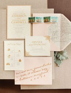 peach and gold custom wedding invitations || Baltimore Bride 2013
