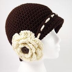 Vintage Flower Cloche Hat Crochet Pattern - Hat For Women - Ideas of Hat For Women - Are you in love with all things retro and vintage? If so you'll love the Vintage Flower Cloche Hat Crochet Pattern it's straight out of the roaring Beau Crochet, Bonnet Crochet, Crochet Beanie Pattern, Knit Crochet, Crochet Brimmed Hat, Crochet Hat With Brim, Vintage Crochet Patterns, Crochet Flower Patterns, Crochet Puff Flower