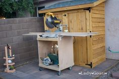 """Miter Saw table- 1 sheet 3/4"""" plywood cut in half lengthwise into 24"""" x 96"""" strips.  1 – 2x2 @ 8 feet long  1 – 1x3 @ 12 feet long – or 2 8 footers  4 – plate mount caster wheels with locking brakes  2 – shelf hinge supports http://www.woodcraft.com/product/2001690/3177/12-shelf-width.aspx  2 inch screws  1 1/4 inch pocket hole screws"""