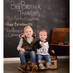 Big brothers in training! It's a girl! Get ready for tea parties, hair braiding and dollhouses! Such a cute pregnancy announcement, mandaamay! Congrats!