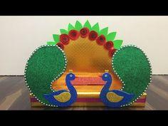 Ganpati decoration idea/How to make Ganpati makhar/ganesh chaturthi craft Diwali Decoration Lights, Gauri Decoration, Mandir Decoration, Thali Decoration Ideas, Ganapati Decoration, Decor Ideas, Stall Decorations, Housewarming Decorations, Diwali Diy