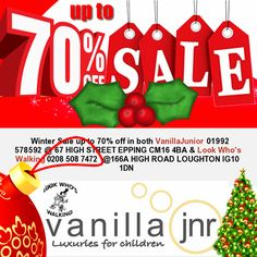 Up to 70% off in both VanillaJunior 01992 578592 @ 67 HIGH STREET EPPING CM16 4BA & Look Who's Walking 0208 508 7472 @166A HIGH ROAD LOUGHTON IG10 1DN #vanilla¬junior #LOUGHTON #EPPING #vanilla_junior #lookwhoswalking