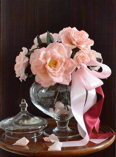 Rose con fiocco rosa