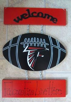 New Atlanta Falcons Football Welcome Sign  24.99 Free Shipping