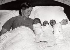 Dutch mother with Triplets