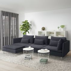SÖDERHAMN sofa, with chaise longue and open end/Finnsta turquoise - IKEA Söderhamn Sofa, Ikea Sofas, Ikea Family, Bed Slats, Comfortable Sofa, Sit Back And Relax, Fabric Sofa, Seat Cushions, Living Room Decor