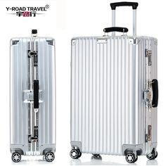 4サイズヴィンテージトラベルトロリー荷物スーツケースpcアルミフレームでtsaロックhardsideローリング荷物スーツケース車輪が付いている