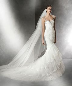 Wishesbridal 2016 Hot Sale Spaghetti Strap Court Train #Tulle Trumpet Mermaid #WeddingDress Apr0176