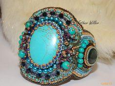 Bracelet brodé turquoise et chrysocolle la légende par EstherWiller, €115.00
