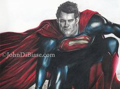 Drawing Print of Henry Cavill as Superman in Man by JohnDiBiaseArt, $14.00