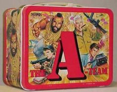 "♣vintage lunch boxes ""A TEAM"" probably be banned in schools now for gun images???♣ツ"