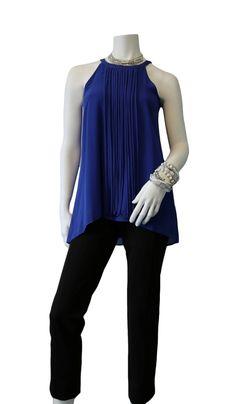 Top, Style Code: Z8312   Size: S -  XL Colors: Royal, Black Pant, Style Code: 188N1234V  Size: 4 - 18 Colors: Black, Brown, Charcoal