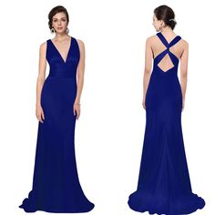 Trailing V Neck Long Evening Formal Bridesmaid Dress Prom Party Ball Gown 09008 | eBay