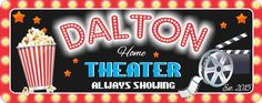 """Always Showing"" Personalized Home Theater Sign with Popcorn, Clapboard and Movie Reel"