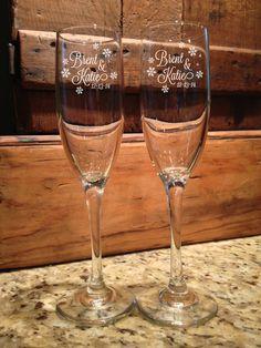 Personalized Wedding, Snow flakes, Winter Wonderland, wedding toasting glasses, Mr and Mrs, Champagne Flutes, By To VitalBridalKeepsakes by VitalBridalKeepsakes on Etsy https://www.etsy.com/listing/208652189/personalized-wedding-snow-flakes-winter