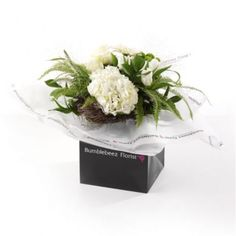 An expertly hand-tied bouquet of white hydrangea, white roses, white gerberas, white tulips, shamrock, chrysanths, lime santini with seasonal foliage presented in exclusive Bumblebeez wrap and a black gift bag.