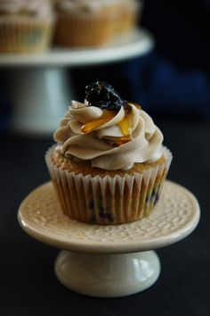 Malted Honey and Blackberry Cupcakes