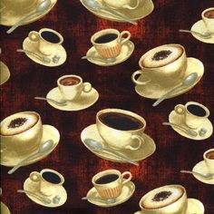 Coffee Break Cups - South Seas Imports - 1 Yard - More Available by BywaterFabric on Etsy
