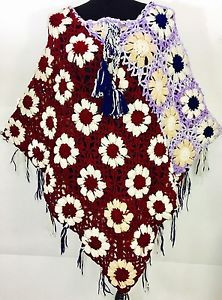 Women Winter Hand Knitted Handmade Woolen  Warm Poncho Sweater Pullover  Floral