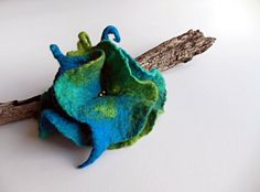 Felted flower brooch  hand felted brooch turquoise by Dagneart