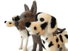THREE of Custom Needle felted Great Dane Sculpture  Dog Art