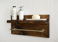 Bathroom Shelf With Towel Bar Metal Hooks by RchristopherDesigns