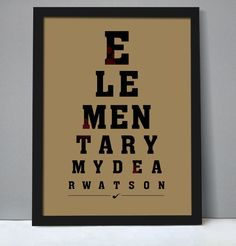 "Poster - ""Elementary, my dear Watson "", eye chart style, movie poster, typography, quote from movie ""The Adventures of Sherlock Holmes"". $19.00, via Etsy."