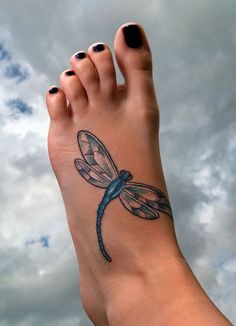 Best foot dragonfly tattoo - Design of Tattoos