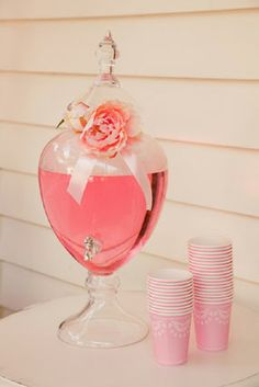 pretty in pink prima ballerina birthday party for grace drink station with apothecary jar embellished with roses and ribbons