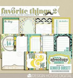This weekend only! Favorite Things journaling cards freebie from Gennifer Bursett #scrapbook #digiscrap #scrapbooking #digifree #scrap