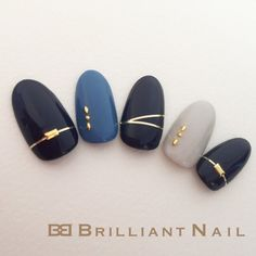 Dark blue and gray nails Navy Nails, White Nails, Navy Nail Art, Dark Blue Nails, Manicure, Japanese Nail Art, Nagel Gel, Nail Decorations, Gorgeous Nails