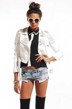 Akira Black Label Roxanne Spiked Cropped Jacket | shopakira.com  #lookofday #stud #jacket