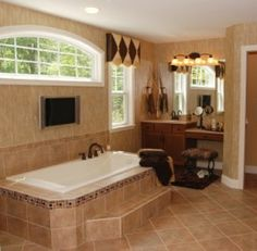 Bathroom Tile - would do the same decorative tile at the top of the bathtub and in the shower