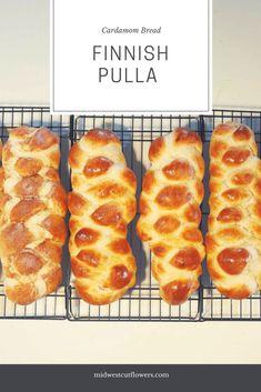 Finnish Pulla Cardamom Bread - A great sweet bread recipe. Finnish Pulla Bread Recipe, Bread Recipes, Baking Recipes, Finnish Recipes, Coffee Bread, Scandinavian Food, Artisan Bread, Snacks, Saveur