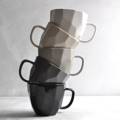 from top: white, off white, light grey, dark grey and black Cool Mugs, Coffee Photography, On The High Street, Winter House, White Light, Decoration, Creative Business, Dark Grey, Interior And Exterior